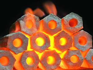 biomass briquettes burning