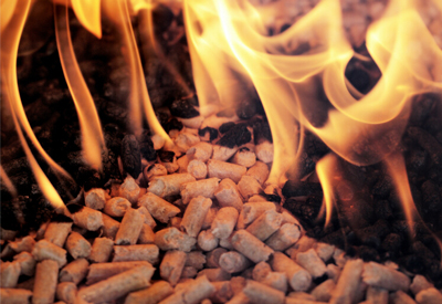 burning biomass pellets